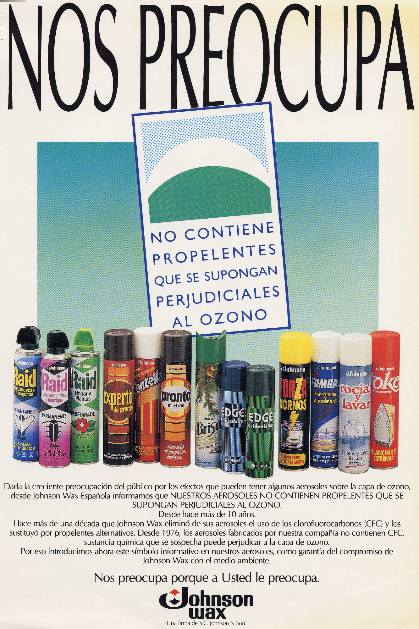 Johnson Wax ad explaining CFCs were removed from all products to be environmentally responsible.