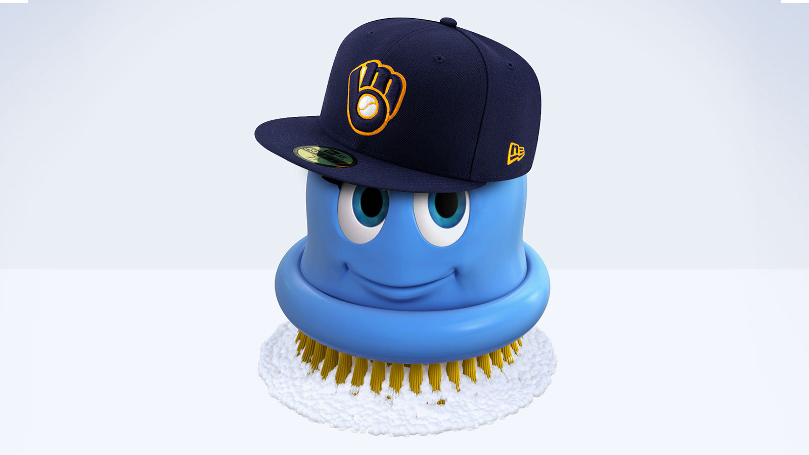Scrubbing Bubbles Character With Brewers Hat