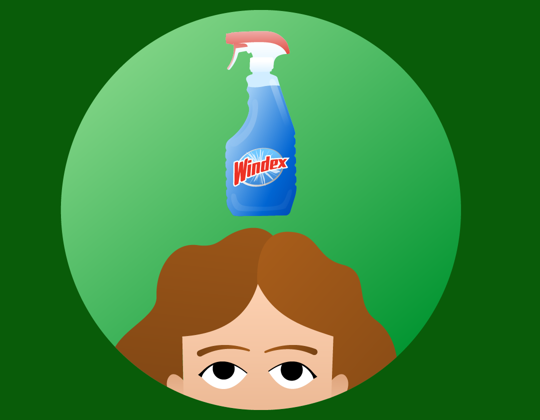 Woman Looking up at windex bottle