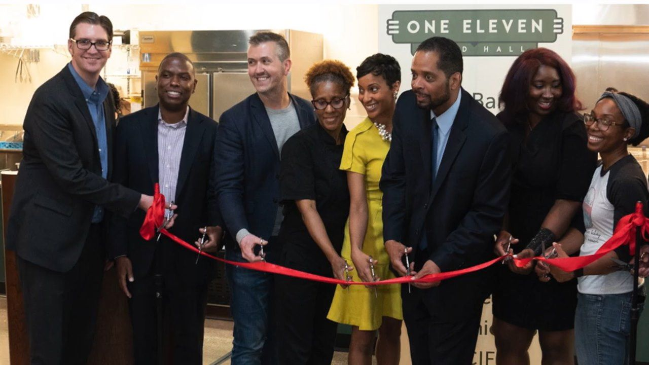 Ribbon Cutting at a small chicago business supported by the Chicago Neighborhood Initiative