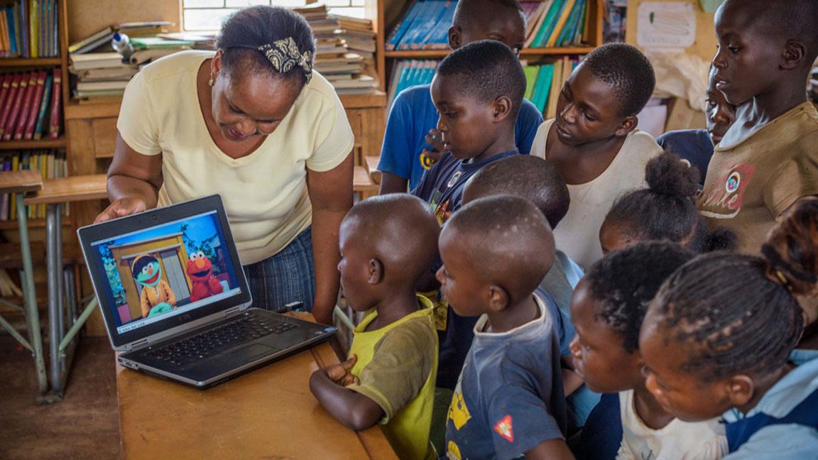 Kids watching educational Sesame Street video sponsored by SC Johnson