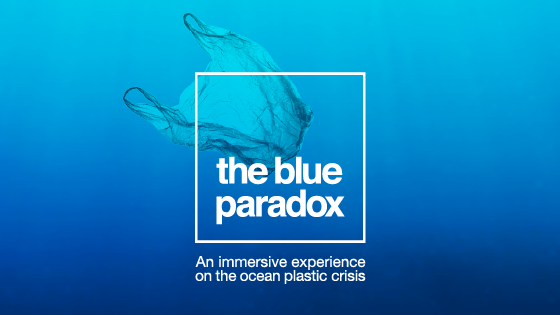 The blue paradox with plastic bag floating in ocean