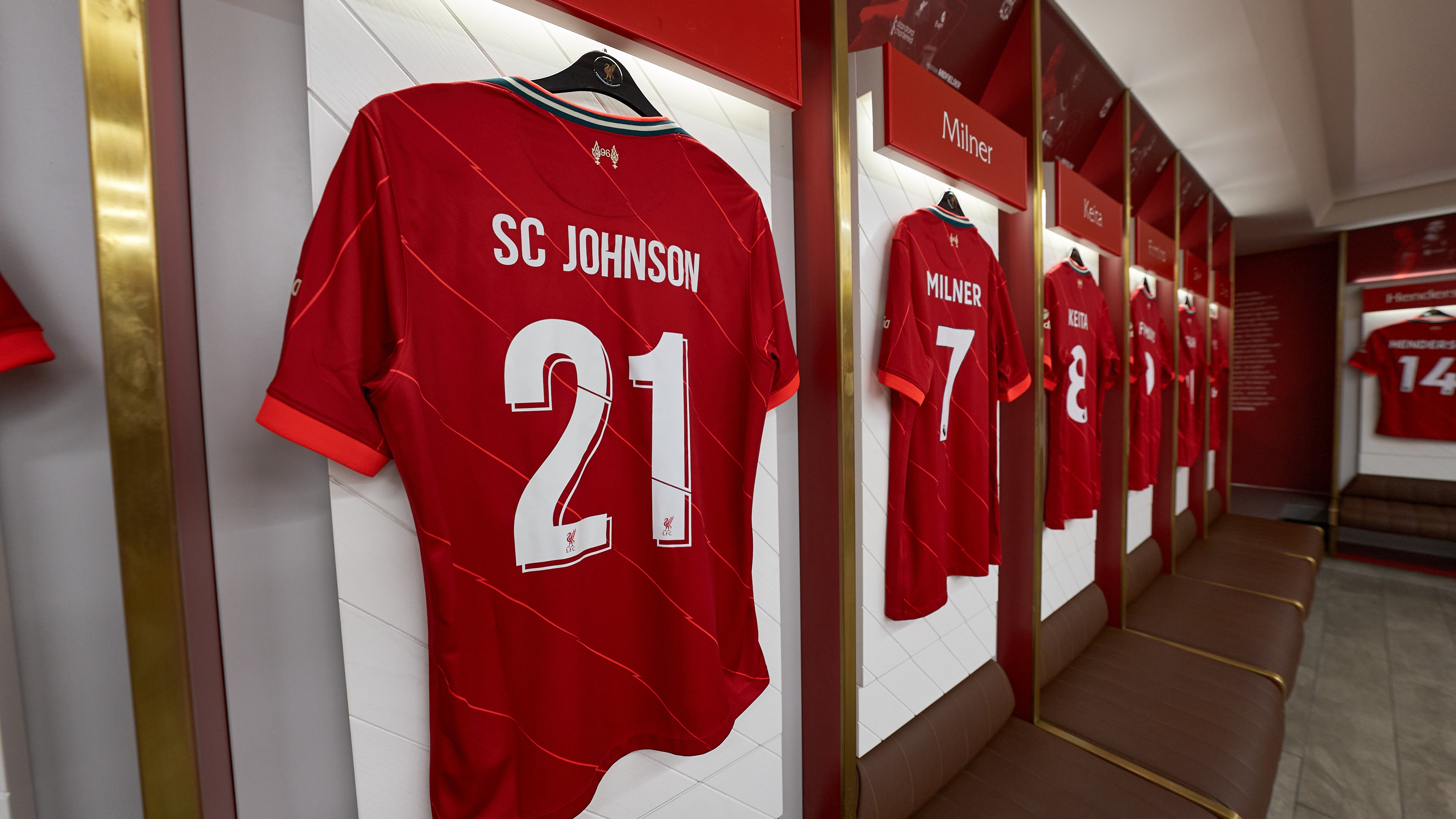 SC Johnson Liverpool Jersey Hanging Up