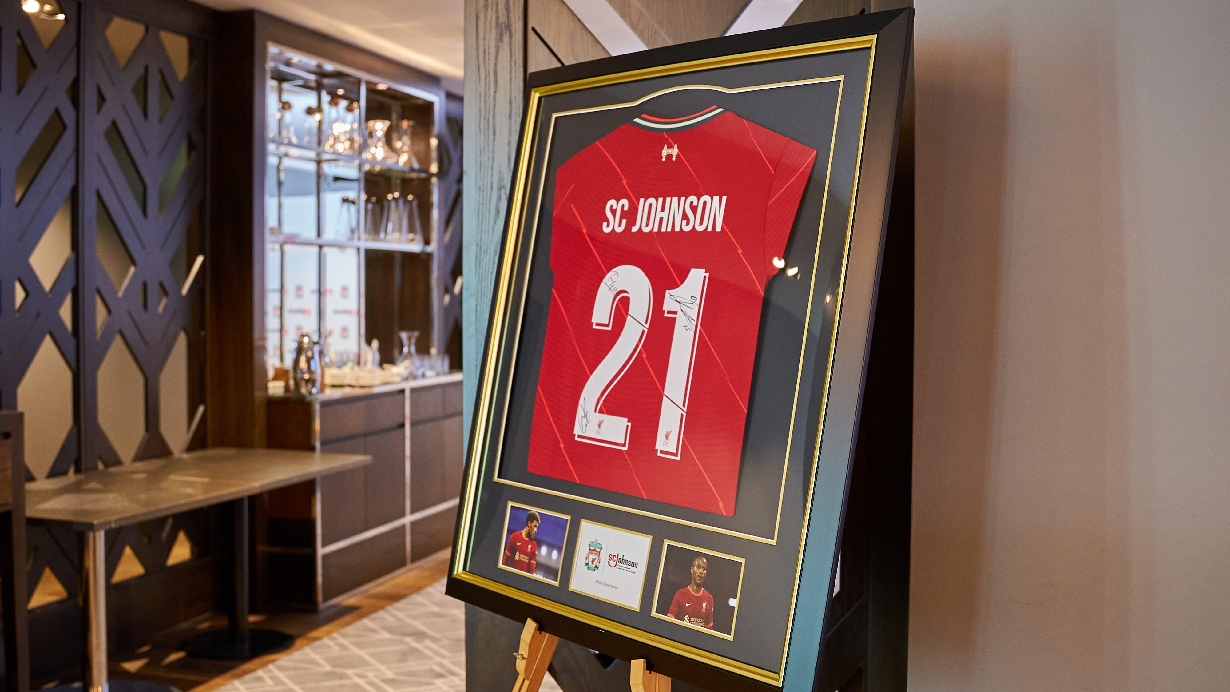 SC Johnson Liverpool Jersey Displayed